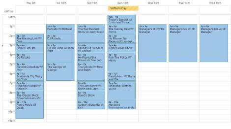 Schedule for May9- May15