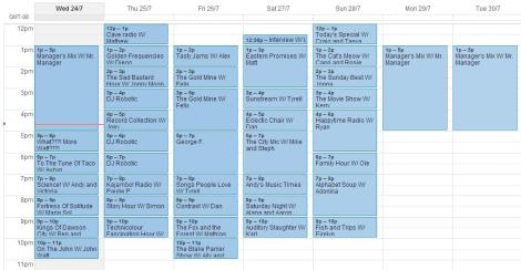 schedule for July 24-30