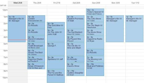 schedule for sept 25- oct1