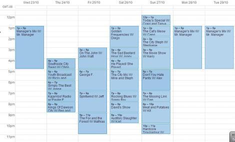 Oct 23 - 28 schedule
