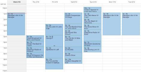 Schedule for Oct.2-Oct 8